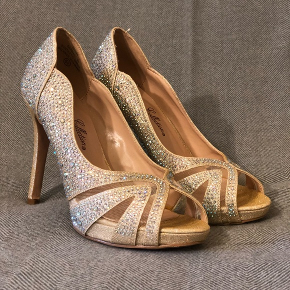 Sparkly Nude Heels